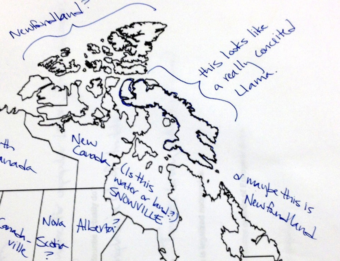americans attempt to label a map of canada